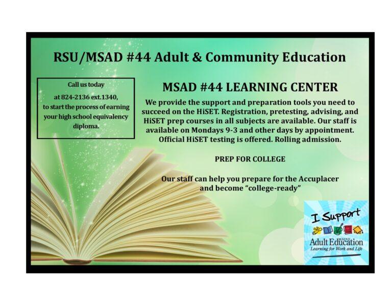 RSU/MSAD44 Adult and Community Education image #711